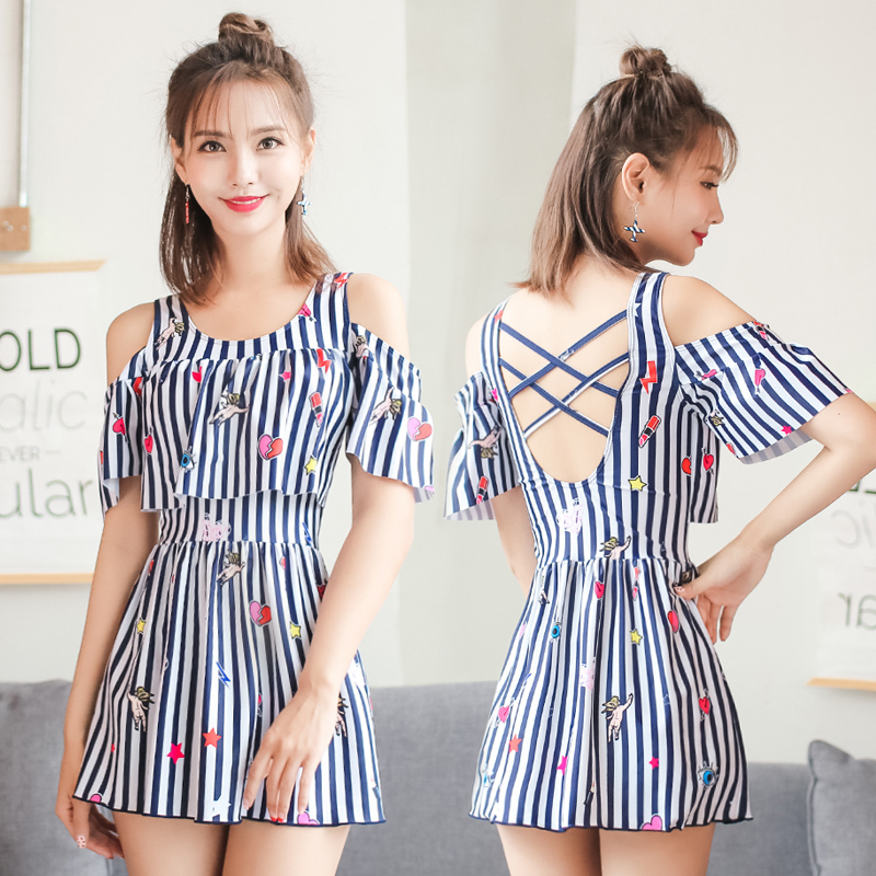 New 2018 Women Striped One Piece Swimwear Push Up Swim Suit Beach Wear Skirt Bathing Suit Girls Plus SizeSwimming Dress Swimsuit women cover up swimwear beach dress skirt one piece swimsuit printed tunic bathing suit 2017 new arrival large size
