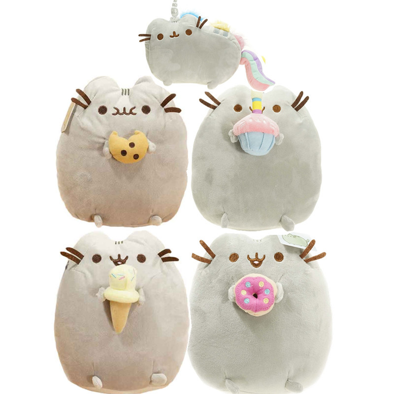 25Cm 4 Style Kids Cute Brinquedos Pusheen Cat Cookie Icecream Doughnut Cake Stuffed Plush Animals Toys Dolls