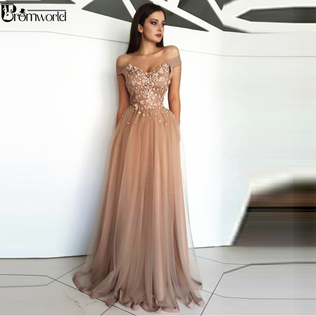 Champagne Prom Dresses 2019 Off the Shoulder Tulle Lace Flowers Party Maxys Long Prom Gown Evening Dresses Robe De Soiree 1
