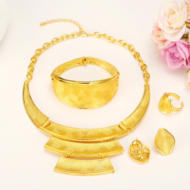 New Noble Real Solid gold Jewelry Sets 4 24k Yellow Neck circle