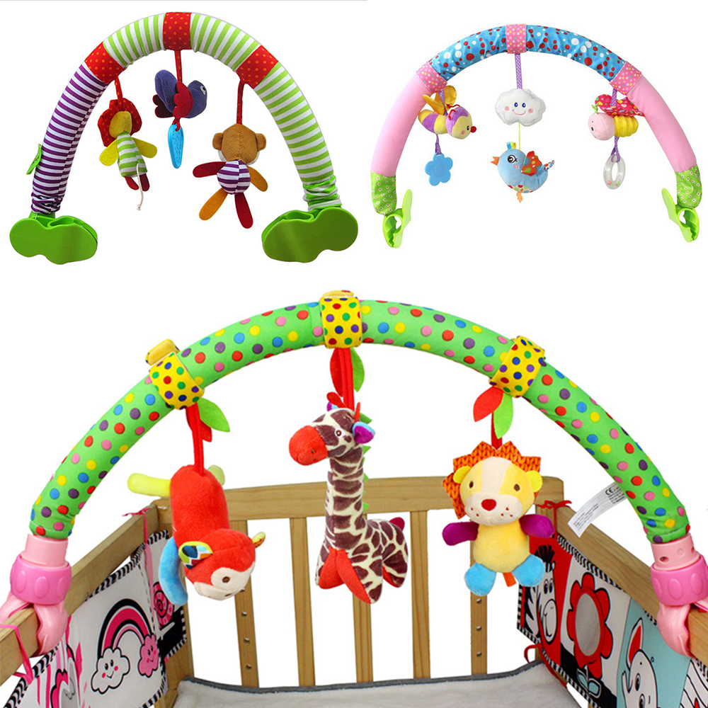 Cute Newborn Baby Stroller Car Clip Pendant And Pram Toy Forest Animal Flying Bird Cartoon Moving Rattle Toy