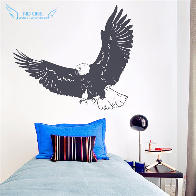 Flying Eagle Wall Decal - American Bald Eage Wall Art Decor , Nature Animals Wall Sticker Home Decor Kids Room Mural Decoration