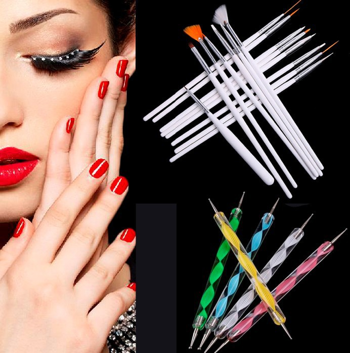20pcs Nail Art Design Set Dotting Painting Drawing Polish Brush Pen ...