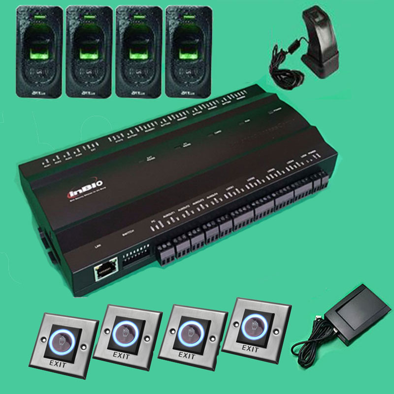 ZK inBIO460 Four Door Controller with Slave reader FR1200 Fingerprint reader Proximity Card Reader / RS-458 / Indoor and Outdoor tusa rs 460 din