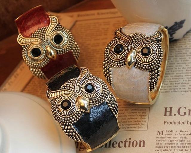 Black Eyes Owl Bangle Charms Enamel Cuff Metal Bracelet