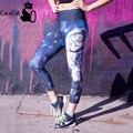 Cococat 2017 nuevos capris de cintura alta negro leche calzas deportivas mujer fitness 3d espacio de impresión cat polainas de las mujeres pantalones