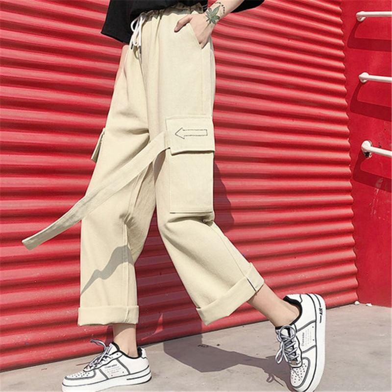 WKOUD Women Khaki Cargo   Pants   High Waist Streetpants Sexy Fashion Solid Sport Trousers Loose   Wide     Leg     Pants   Streetwear P8897
