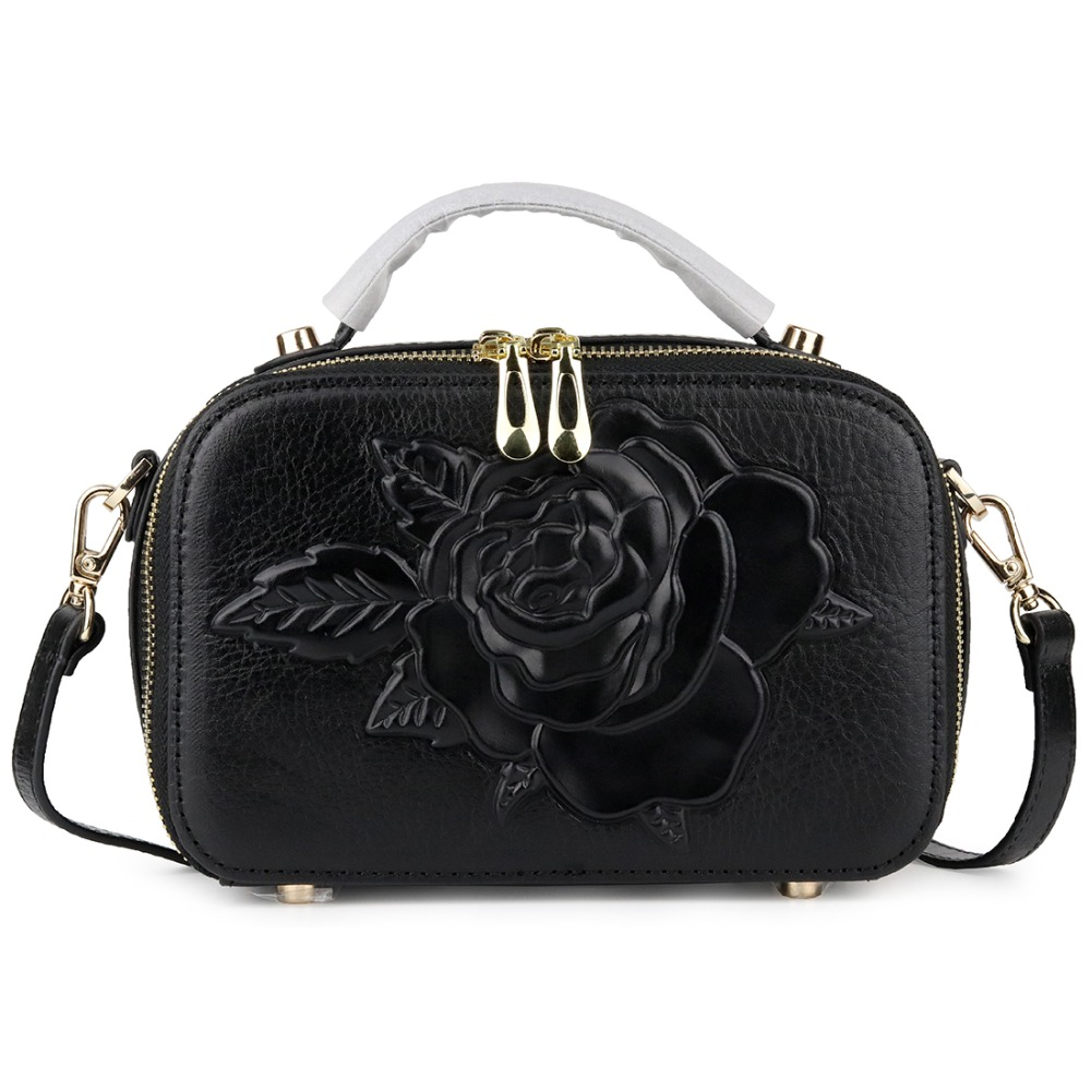 Genuine Leather Large Capacity Double Zippering Compartment Women Totes 2019 New Arrivals Embossing Rose Flower Cross