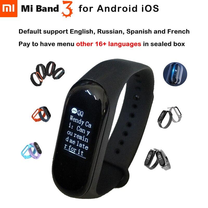 Оригинальный Xiaomi Mi Band 3 Miband 3 для Android IOS фитнес трекер монитор сердечного ритма 0,78