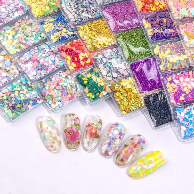6 grille/sac mélangé ongles paillettes poudre paillettes coloré ongles flocons autocollant 3d bricolage ongles curseurs poussière pour ongles Art décorations