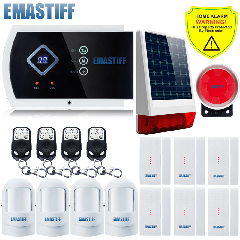 Wireless Outdoor Solar Powered Strobe Alarm System intelligent burglar home security system and Wireless GSM Alarm Quad-band