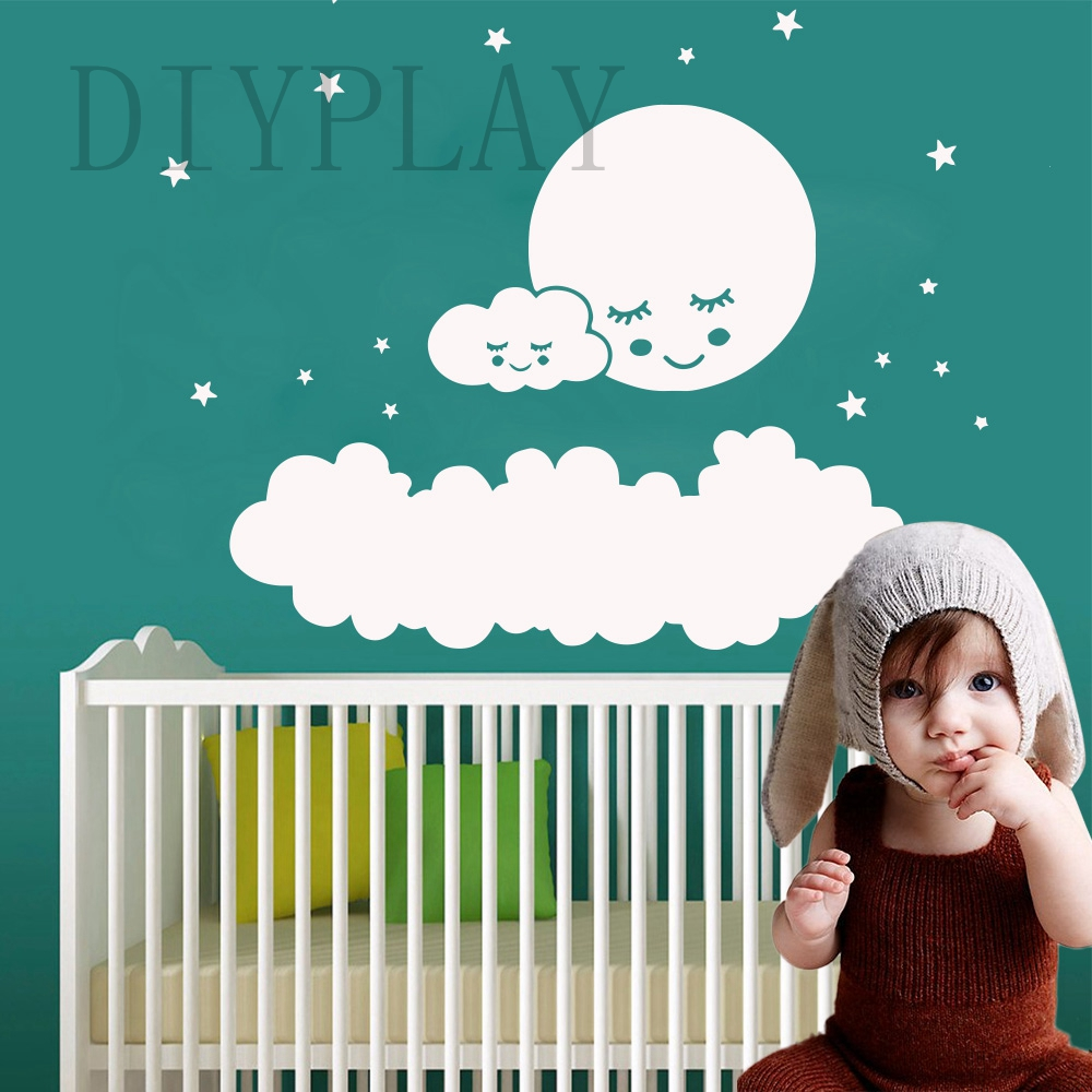 2019 New Clouds Moon Stars Vinyl Wall Sticker Decor For Baby's Kids Room Bedroom Decoration Decal Mural Wallpaper wallstickers