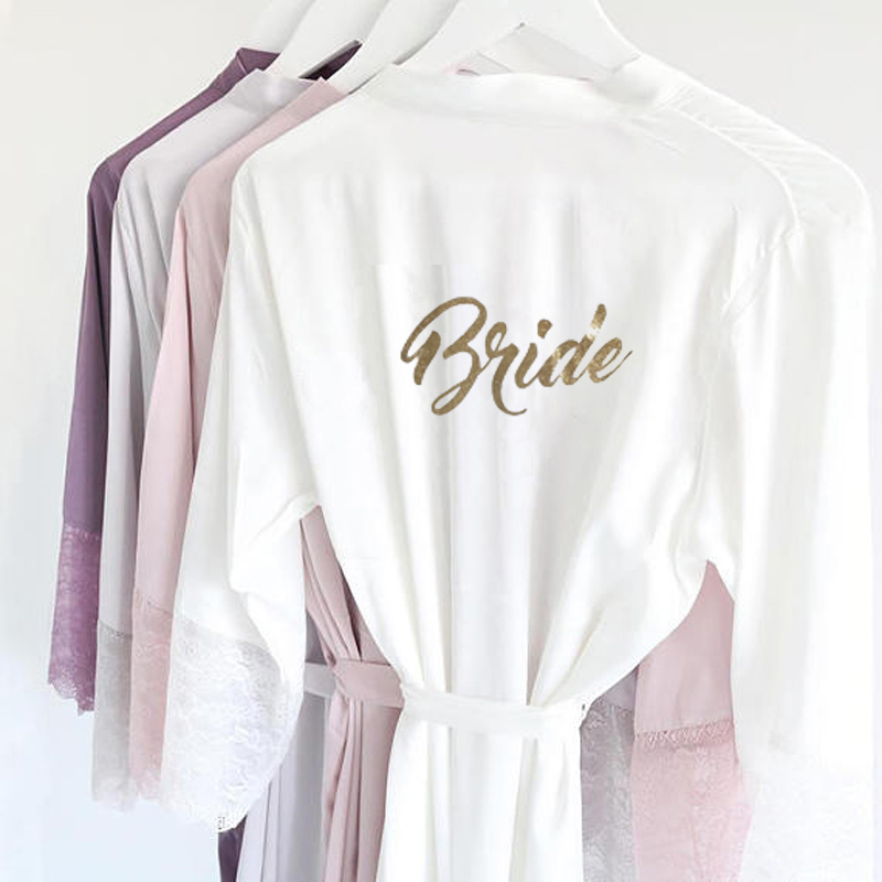 R18 Sexy Satin Lace Trim Kimono Bridal Robes Gold Glitter Bride Bridesmaid Nightwear Nightgown dress Party Sleepwear for Women(China)