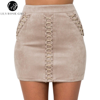 55894027131a06 Lily Rosie Girl Pink Lace Up Suede Leather Skirts Mini Short Pencil High  Waist Sexy Skirt