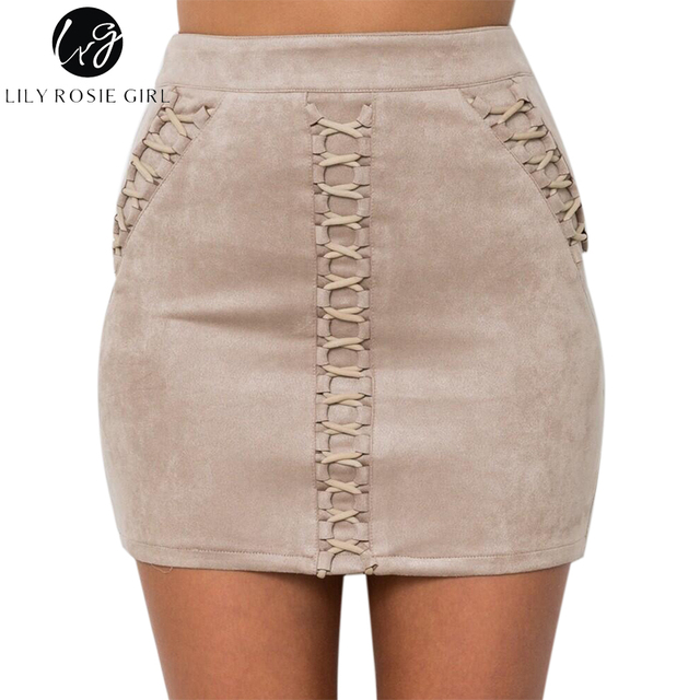 Lily Rosie Girl Lace Up Suede Leather Skirts Mini Short Pencil High Waist Sexy Skirt Zipper Autumn Winter Wrap Skirts