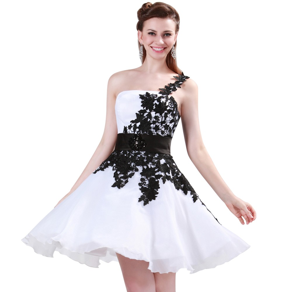 Grace Karin White and Black One Shoulder Lace Short Prom Dresses Ball Gown Knee Length School Party Dress Cute GK4288 5