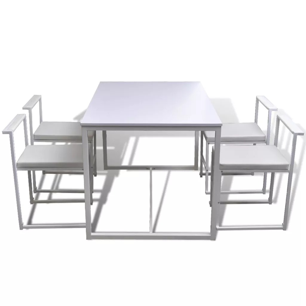 vidaXL 5 Piece White Dining Table Set And Chairs Sturdy And Durable Dining Room Sets Comfortable And High Quality Kitchen SetvidaXL 5 Piece White Dining Table Set And Chairs Sturdy And Durable Dining Room Sets Comfortable And High Quality Kitchen Set