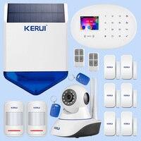 KERUI Wi Fi GSM охранная сигнализация комплект беспроводной домашний приложение управление охранная система с ip камерой и наружной солнечной стр