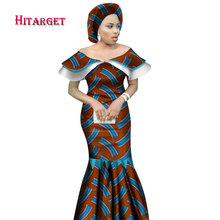 African Bazin Riche Dresses for Woman 2019 Clothing Wax Print Mermaid Peter Pan Vestidos Dashiki Clothes WY2452