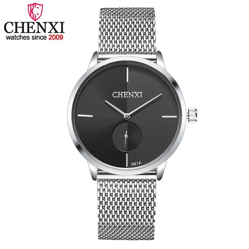 CHENXI Brand Couple Quartz Wristwatch Ultrathin Full Steel Lovers Watch