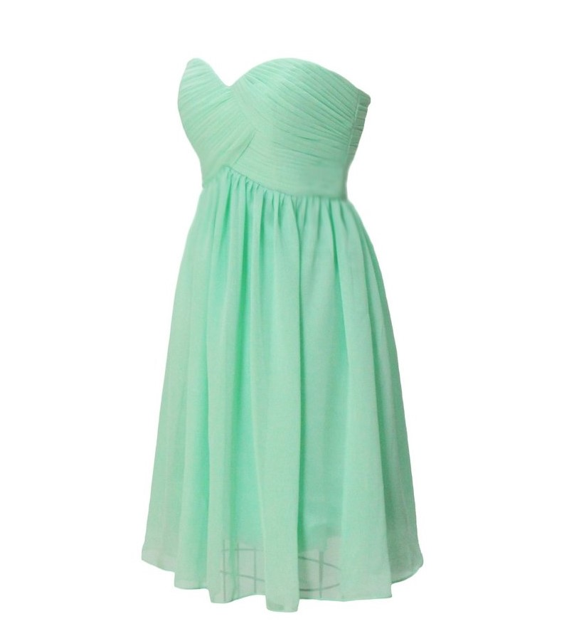 Us 32 41 20 Off Mint Green Bridesmaid Dresses Knee Length Strapless Pleated Vestido De Festa Casamento Graduation Prom Under 50 In