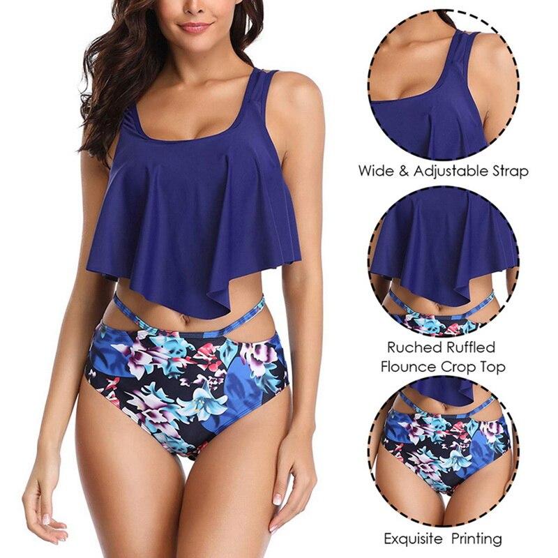 HTB1lk5CbjzuK1Rjy0Fpq6yEpFXaf 2019 New Sexy Women Bikini Set Mujer Ruffle Floral Printed Swimsuit Push Up High Waist Bikini Biquinis Brazilian Swimwear Summer