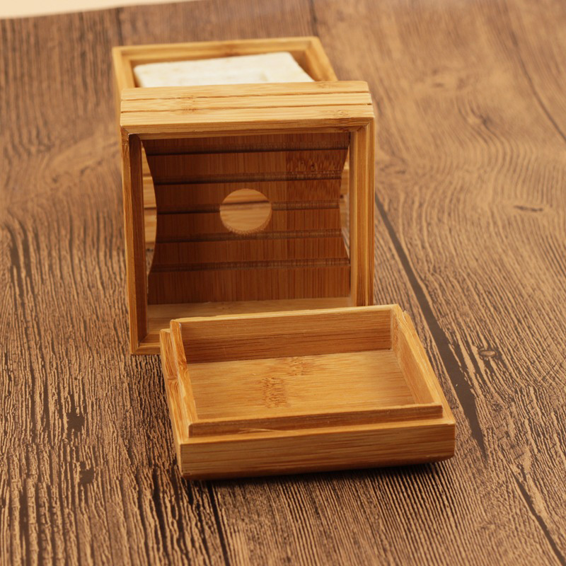 50pcs/lot Natural Bamboo Soap Dish Wooden Soap Tray Holder Storage Soap Rack Plate Box Container For Bath Shower Plate Bathroom