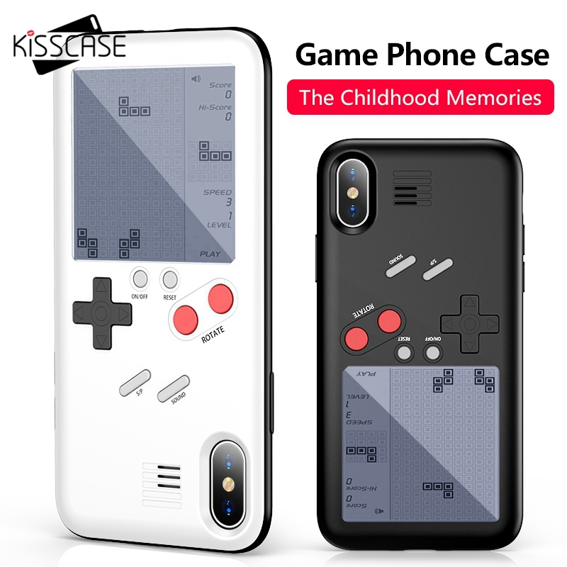 BEIJOS Tetris Game Machine Tampa Caixa Do Telefone Para o iphone X 6 6 s Plus Preto Retro Game Console Caso Para iPhone 7 8 Plus X Capinha