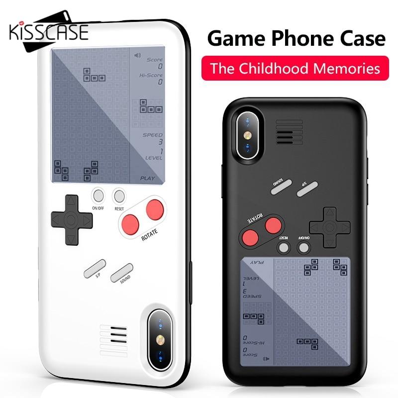 KISSCASE Tetris Jeu Machine Téléphone Cas Pour iPhone X 6 6 s Plus La Couverture Noir Rétro Jeu Console Cas Pour iPhone 7 8 Plus X Capinha