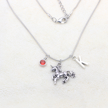 Unicorn Necklace Magical Licorne Women Jewelry Initial Birthstone Necklace Custom Initial Necklace Drop shipping YP0073 цена и фото