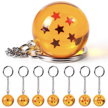 Fashion Anime Dragon Ball Z Keychain Cosplay 7 Dragonball Stars Crystal Ball Keyrings PVC Pendant Key Buckle Wholesale(China)