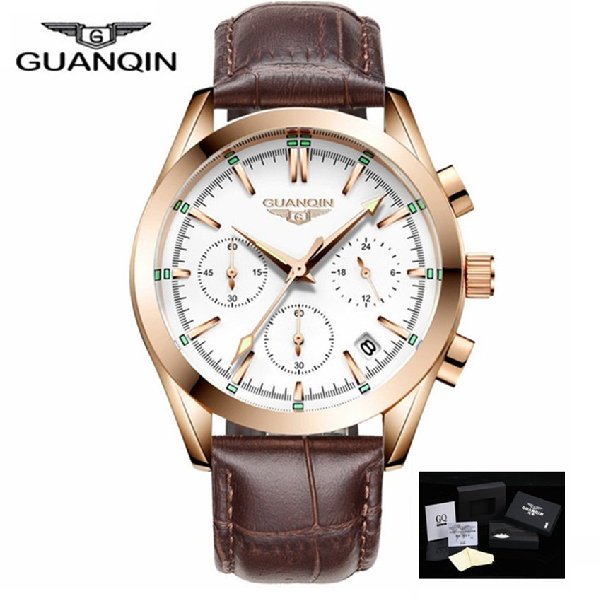 relogio masculino New GUANQIN Men Luxury Chronograph Watches Sport Man Casual Leather Waterproof Quartz Calendar Wrist Watch chenxi men watch calendar quartz wristwatch chronograph leather strap waterproof men s sport watches gifts relogio masculino