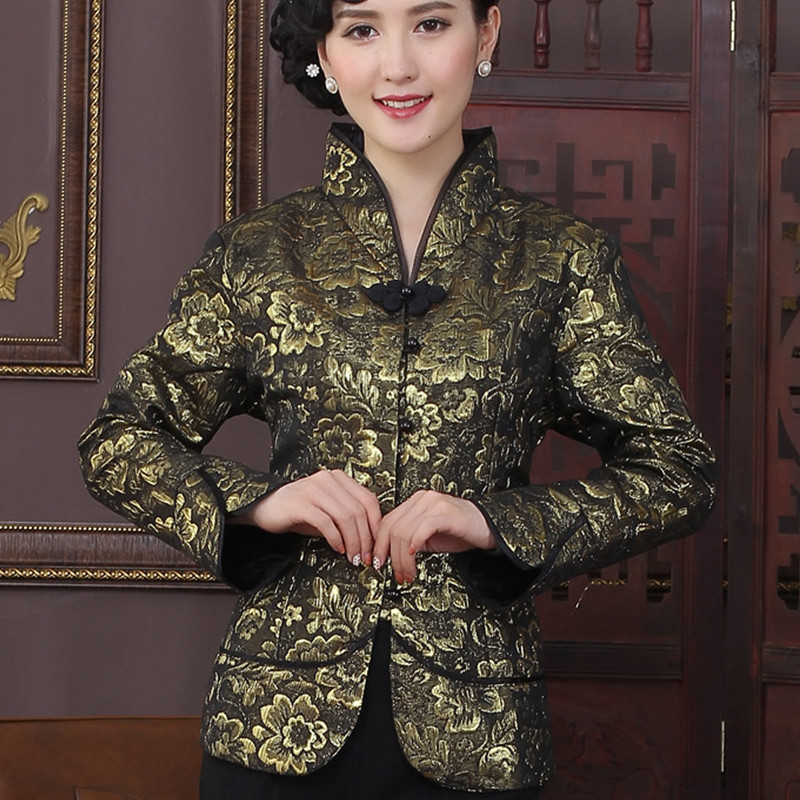 High Quality Gold Chinese Tradition Style Jackets Elegant Slim Jacket Coat Tang Suit Tops Size S