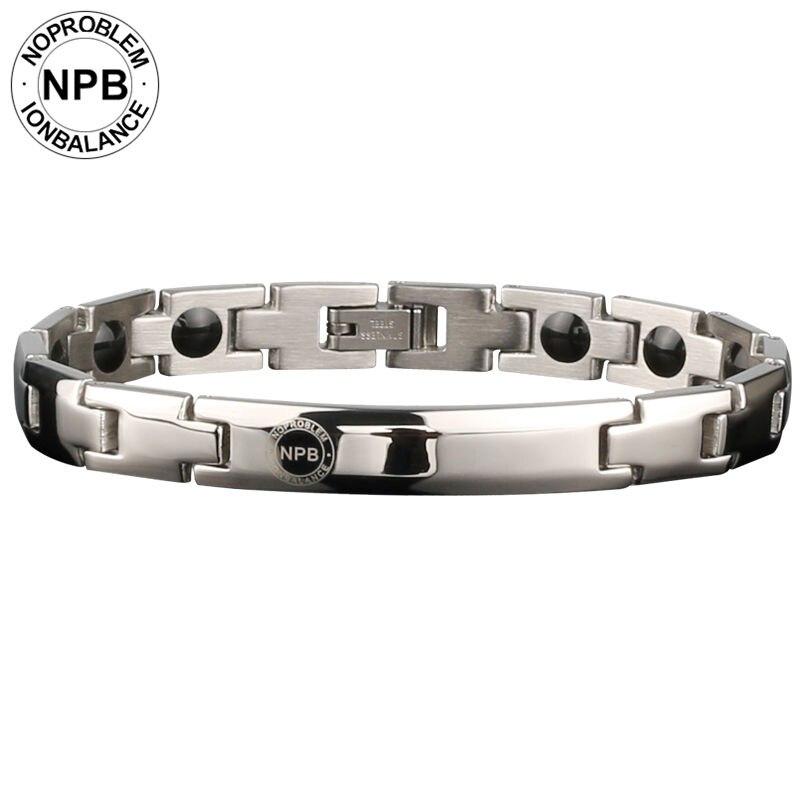 Noproblem 043 siliver metal beads gargantilha senhora magnética turmalina germânio antifadiga energia pulseiras