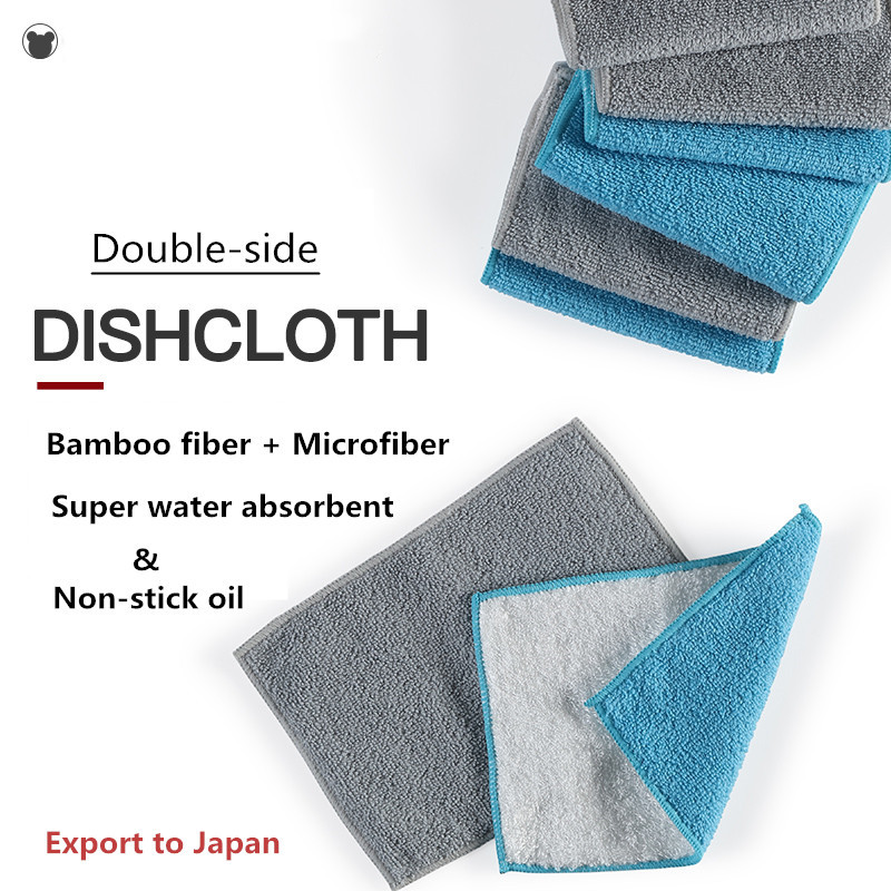 Super Absorbent Kitchen Towels Bamboo Kitchen Dish Rags 6 Pack Multi-Purpose Soft and Thick Cleaning Cloths Durable and Eco-friendly Washcloths 9 x 7 inch