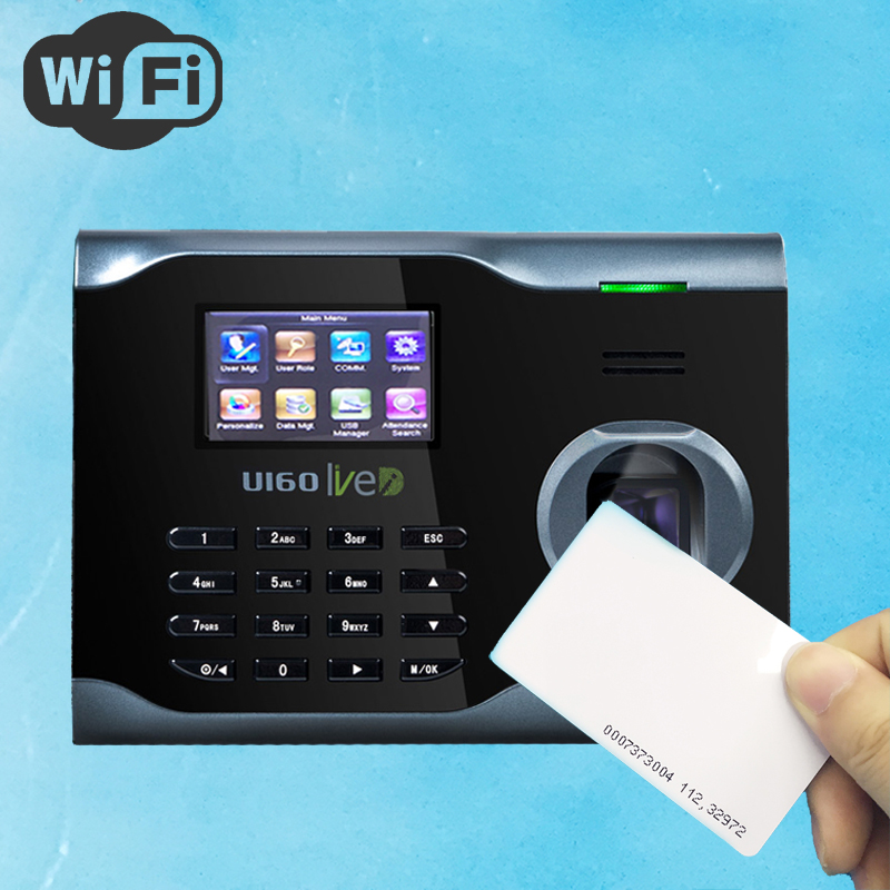 Free Shipping U160 Wifi Biometric Fingerprint Time Attendance Employee Rfid Electronic Attendance + Silk ID Fingerprint Sensor