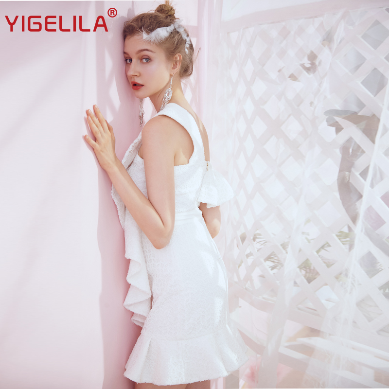 YIGELILA Fashion Women One Shoulder Lace Dress Party Summer Solid Ruffles Empire Slim White Bodycon Backless Mini Dress 64073