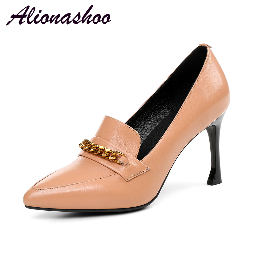 Alionashoo 2018 Sexy Pointed Toe Fashion High Heels Dress Shoes Women Brand Designer Office Ladies Thin Heels Pumps Plus Size 43 lady glitter high fashion designer brand bow soft flock plus size 43 leisure pointed toe flats square heels single shoes slip on