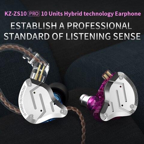 2019 KZ ZS10 PRO 4BA+1DD KZ Hybrid Earphone headset HIFI Earbuds In Ear Monitor Headphones Earbuds for KZ AS10 ZS10 ZSN PRO Multan