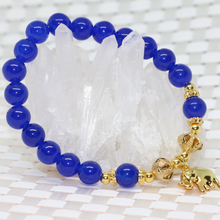 Natural stone blue jade 8mm round beads bracelets for women fashion gold-plated elepant pendant jewelry making 7.5inch B2010