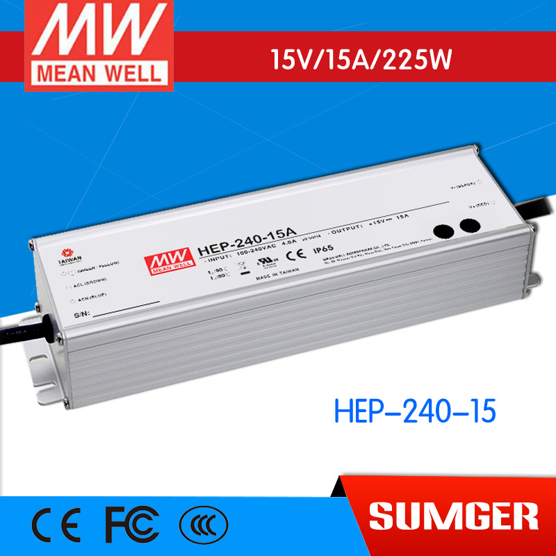 1MEAN WELL original HEP-240-15 15V 15A meanwell HEP-240 15V 225W Single Output Switching Power Supply [freeshipping 1pcs] mean well original rs 25 15 15v 1 7a meanwell rs 25 25 5w single output switching power supply