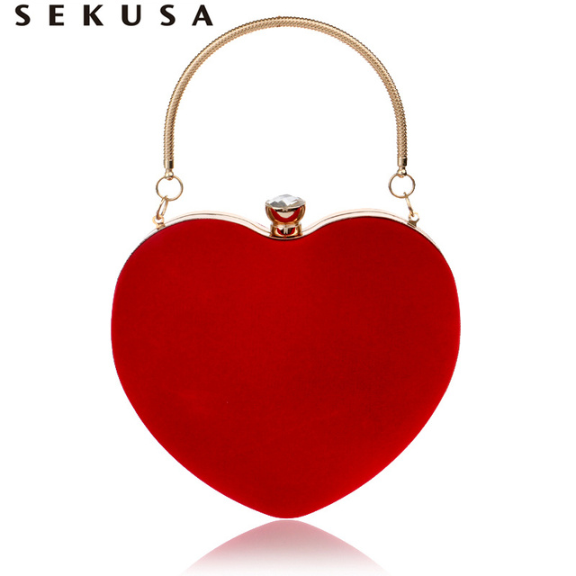 SEKUSA Heart Shaped Diamonds Women Evening Bags Red/Black Chain Shoulder Purse Day Clutches Evening  Bags For Party Wedding