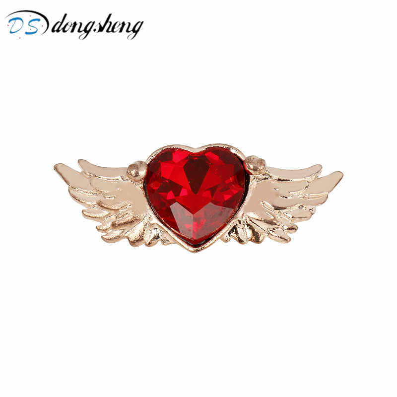 dongsheng Japanese Anime Sailor Moon Brooches Card Captor SAKURA Angel Wings Crystal Red Heart Brooches Pins for Women Girl Gift