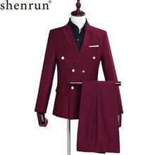 Костюм Униформа shenrun винно красного цвета двубортный приталенный