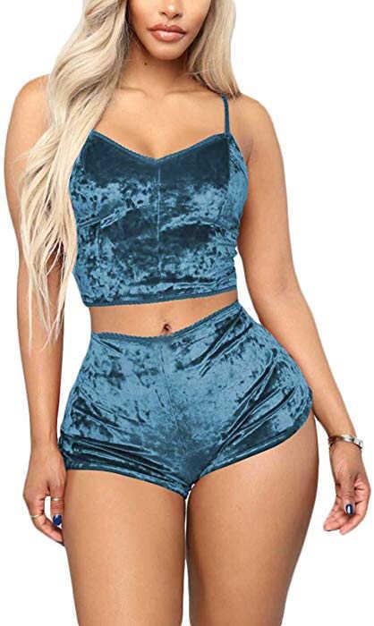 Модные женские бархатные пижамы из 2 предметов, сексуальные бархатные шорты на бретельках, пижамный комплект, женская пижама, Женский пижамный комплект для вечеринки