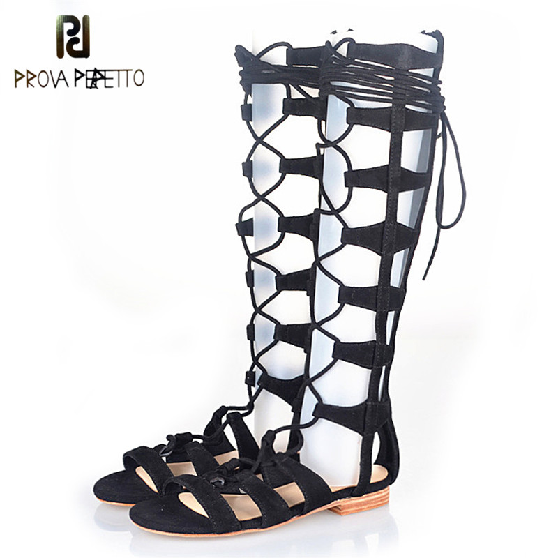 Prova Perfetto Gladiator Design Cross-tied Peep Toe Hollow Out Low Heel Woman Sandals Elastic Genuine Leather Lace Up Sandals sweet hollow out and lace up design women s sandals