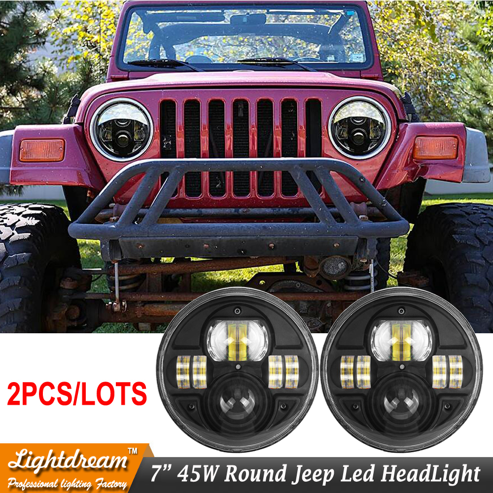 Round 7inch LED Headlights Kit 7 LED Headlight H4 Hi/low Auto Headlight For Wrangler JK TJ CJ FJ Cruiser Defender 4x4 4WD x2pcs whdz 1pc round 7inch 75w round led headlight hi low beam head light with bulb drl for jeep wrangler tj lj jk cj 7 cj 8 scrambler