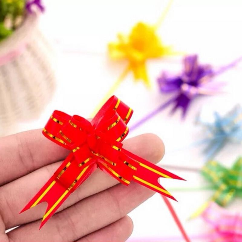 LARGE Ribbon Bows MULTI 10 COLOURS easy pull flower ribbon party decoration 50