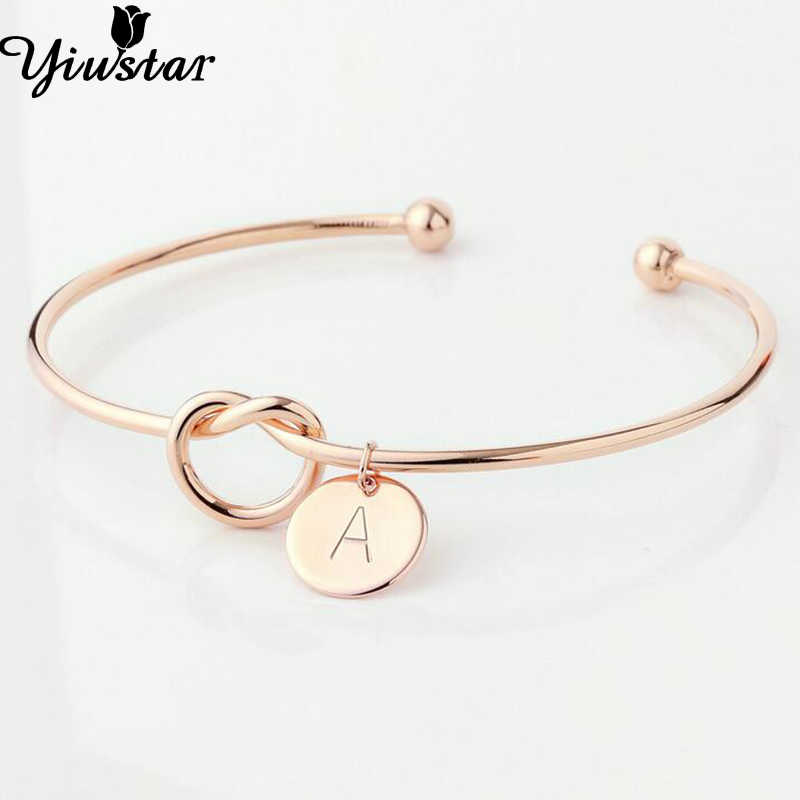 Yiustar A-Z Knot Initial Bracelet for Women Girls Charming Chain Letter Personalized Knot Initial Bracelet Jewelry Wedding Party