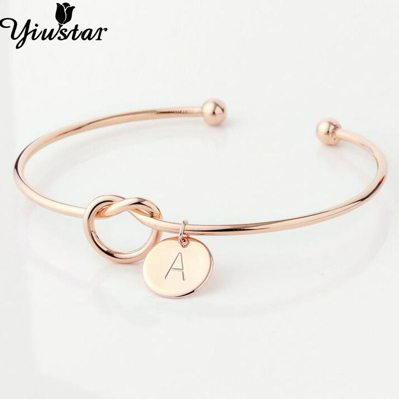 Yiustar A-Z Knot Initial Bracelet for Women Girls Charming